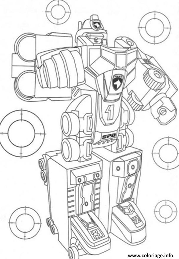 Coloriage awesome power ranger robot - Coloriage mini force ...