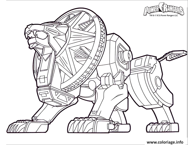 Coloriage Power Rangers Dino Charge Lion Robot Dessin à Imprimer