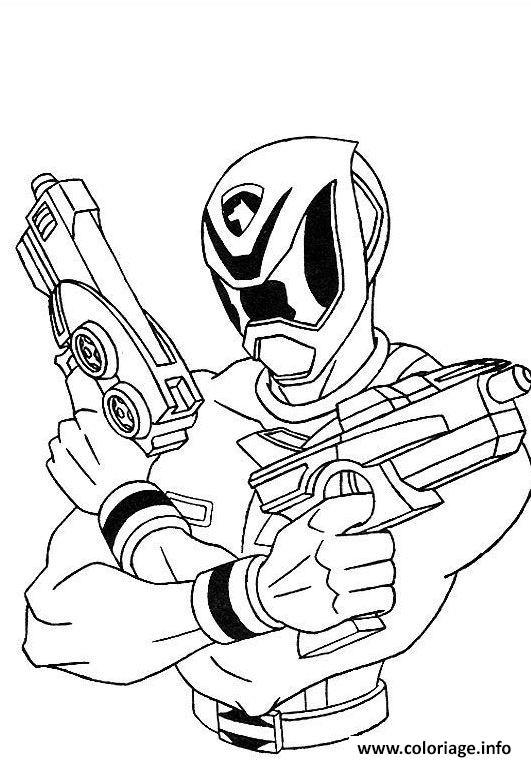 Coloriage power rangers avec fusils pret combat - Power rangers a colorier ...