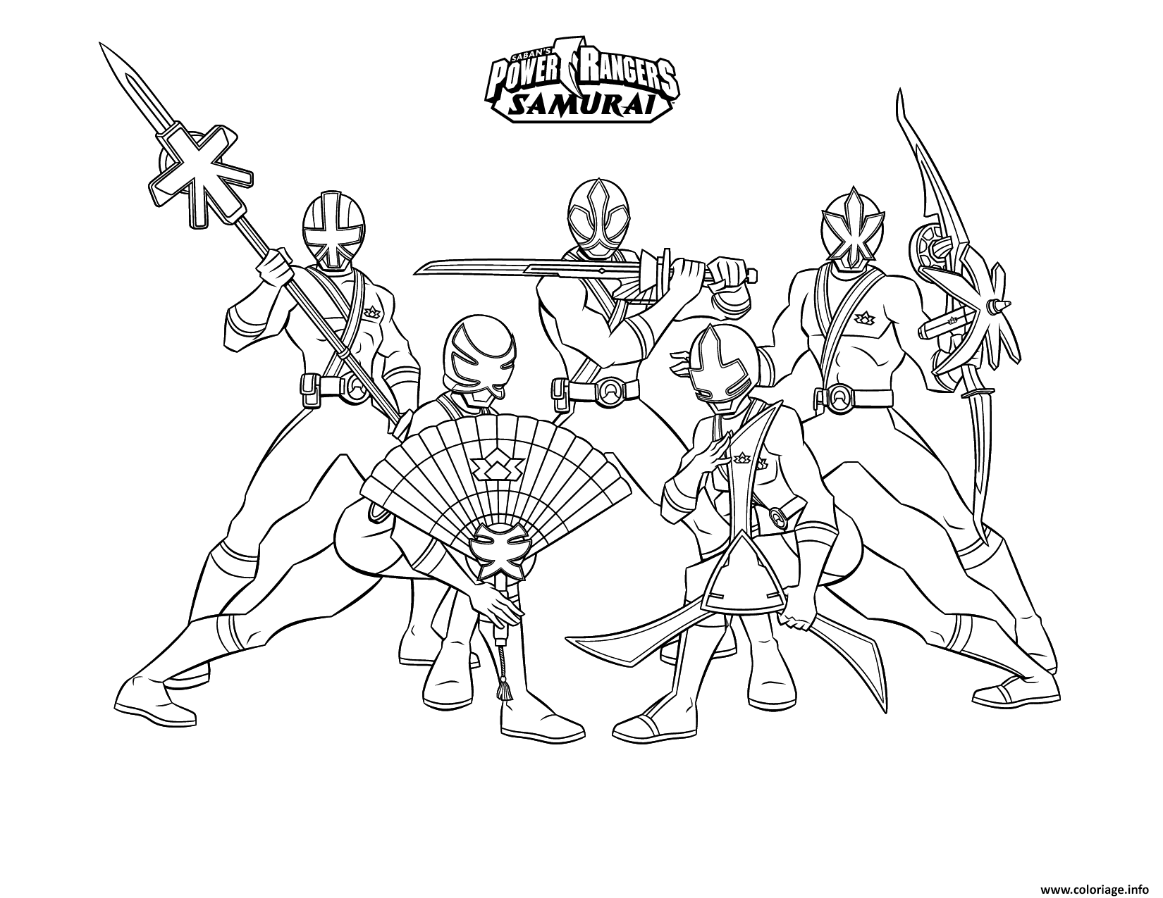 Coloriage samurai power rangers equipe dessin - Power rangers gratuit ...