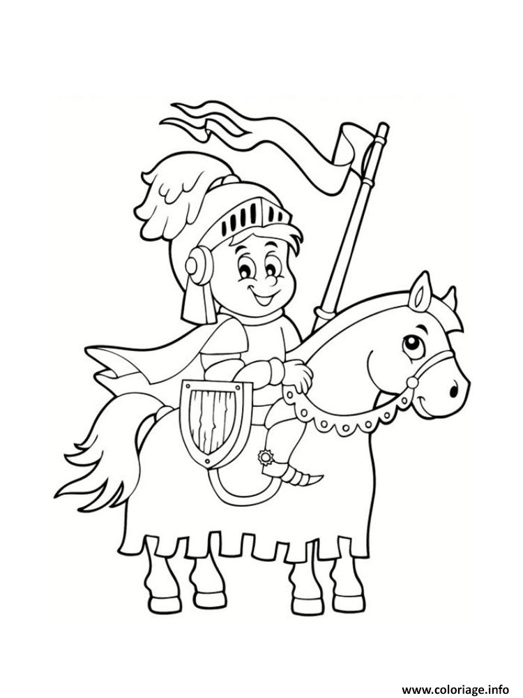 Coloriage chevalier cheval dessin - Coloriages a colorier ...