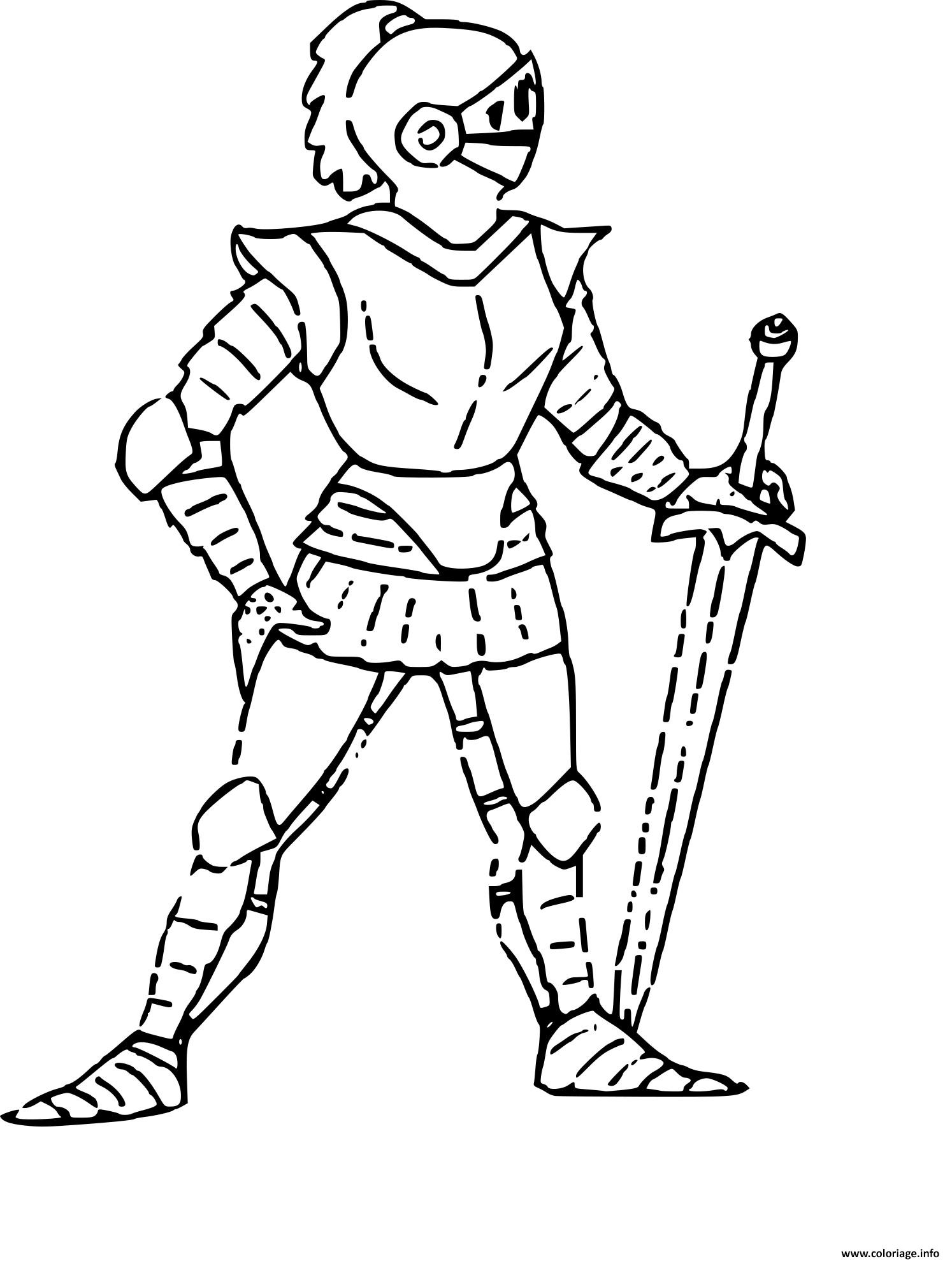 Coloriage chevalier et son epee dessin - Coloriage chevaliers ...