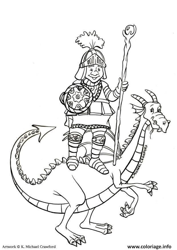 Coloriage Chevalier Sur Un Dragon Dessin