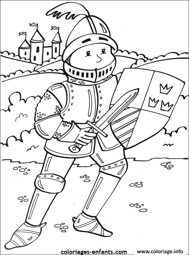 Coloriage chevalier pour enfant - JeColorie.com