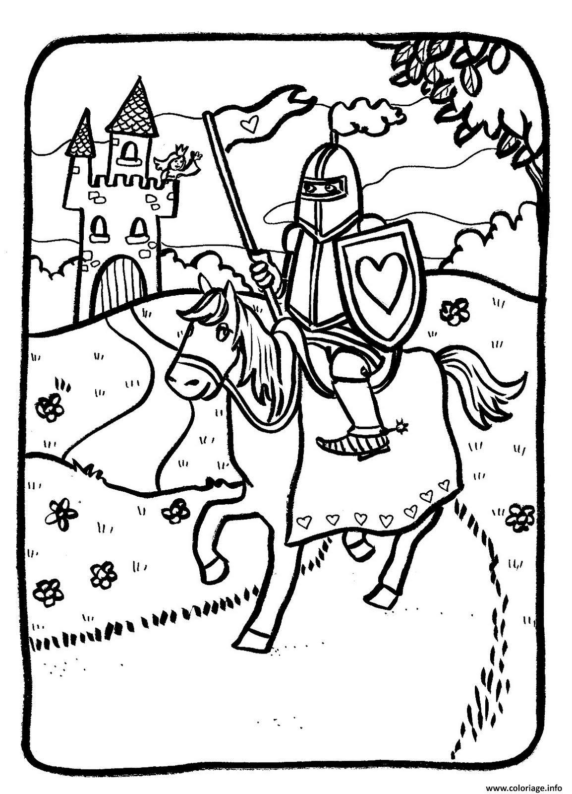 Dessin chevalier quitte son royaume Coloriage Gratuit à Imprimer