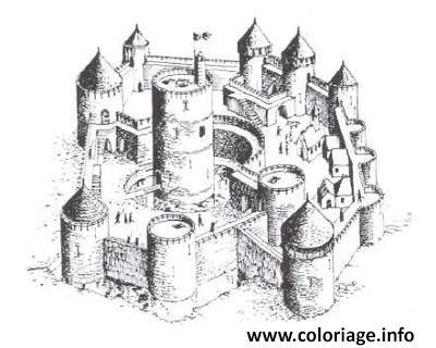 Coloriage Chateau Fort Du Moyen Age 2 Jecolorie Com