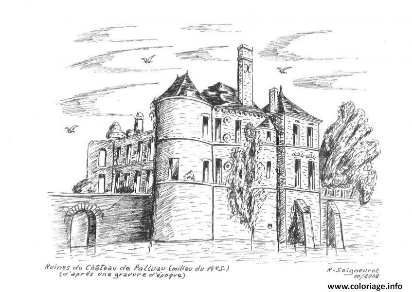 Dessin chateau fort du moyen age chateau de palluau par r seigneuret Coloriage Gratuit à Imprimer