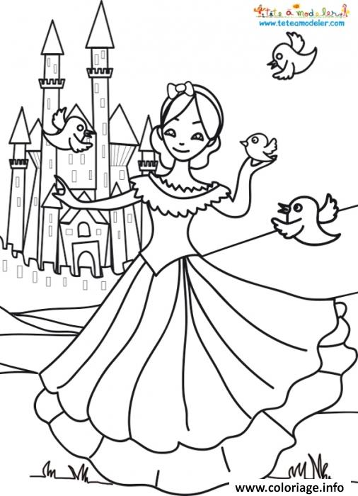 Coloriage Princesse Et Chateau.Coloriage Chateau Princesse Dessin