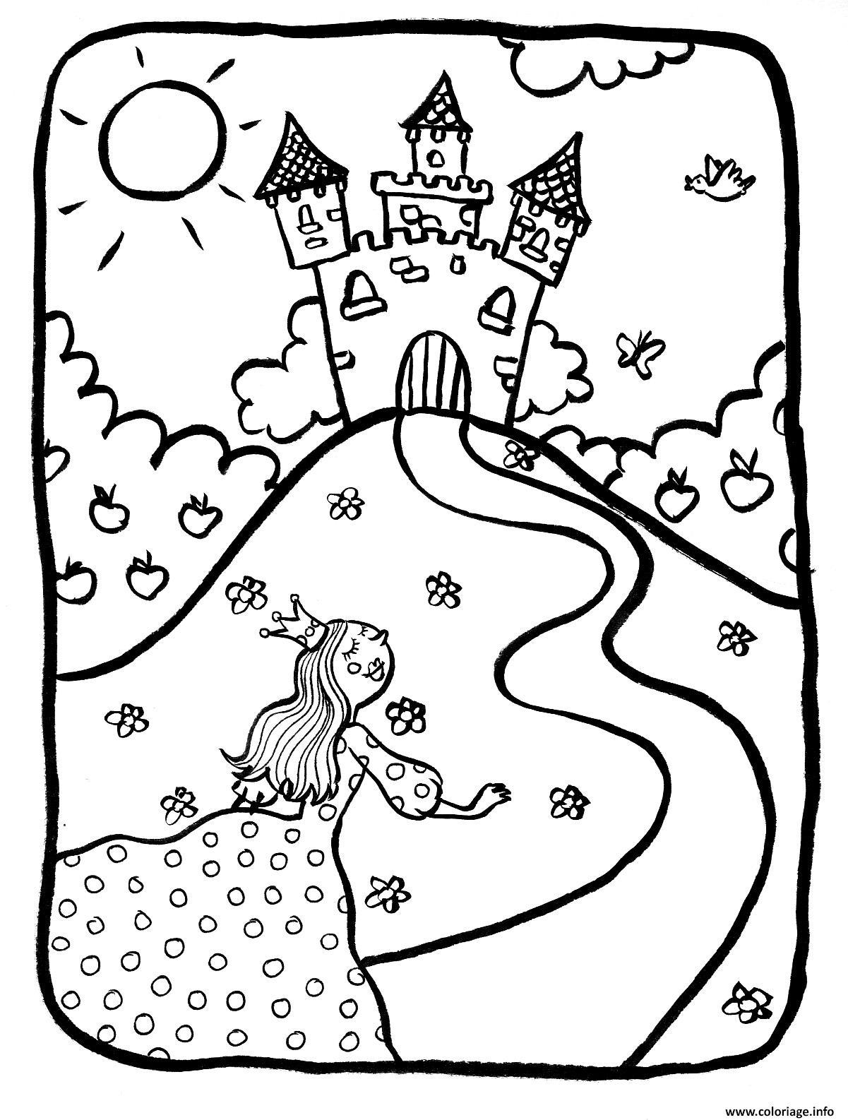 Coloriage dessin chateaux avec princesse dessin - Coloriage chateau de princesse ...