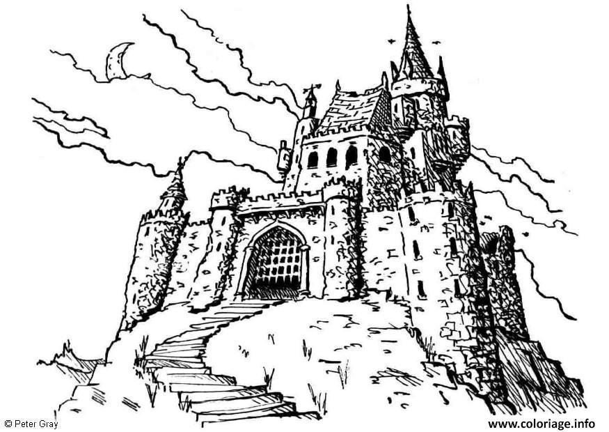 Coloriage Chateau Fort Du Moyen Age Par Peter Gray Jecolorie Com