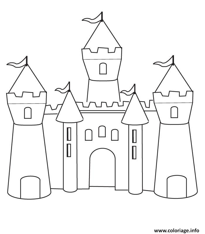 Coloriage chateau fort maternelle simple - Coloriage chateau de princesse ...