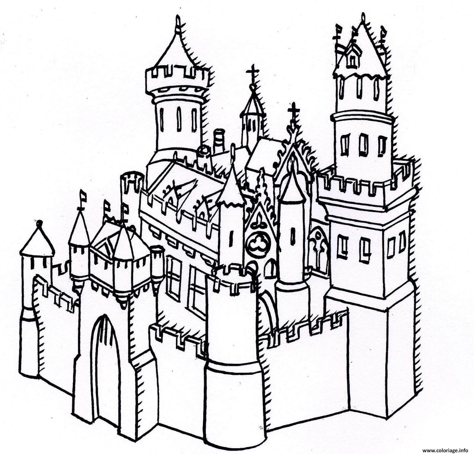 Coloriage De Chateau A Imprimer.Coloriage Chateau Forteresse Dessin