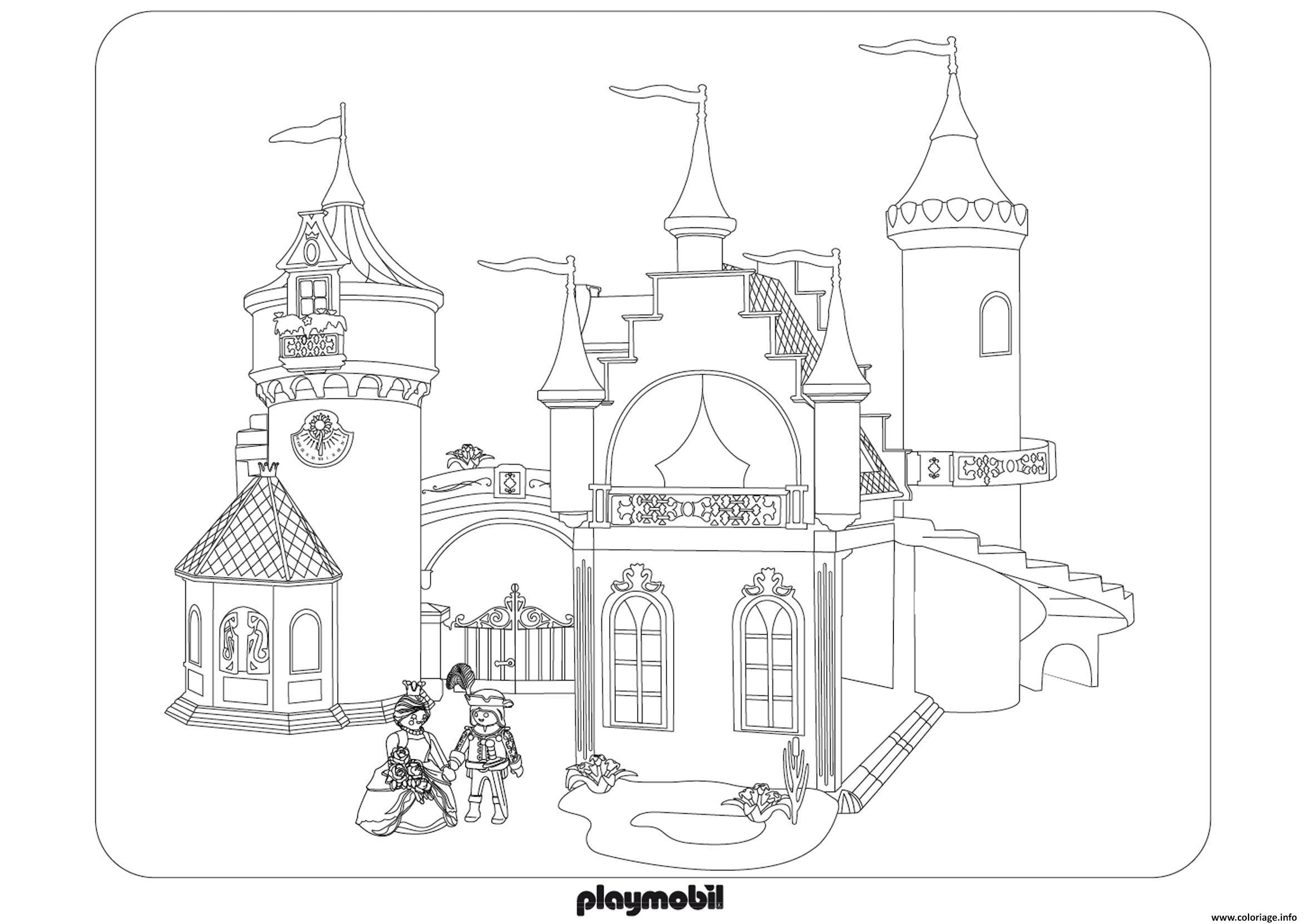 Coloriage chateau roi reine princesse playmobil dessin - Coloriage chateau de princesse ...