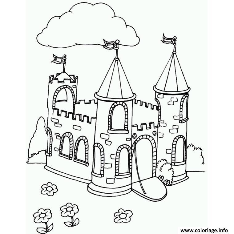 Coloriage Superbe Chateau Complet Dessin