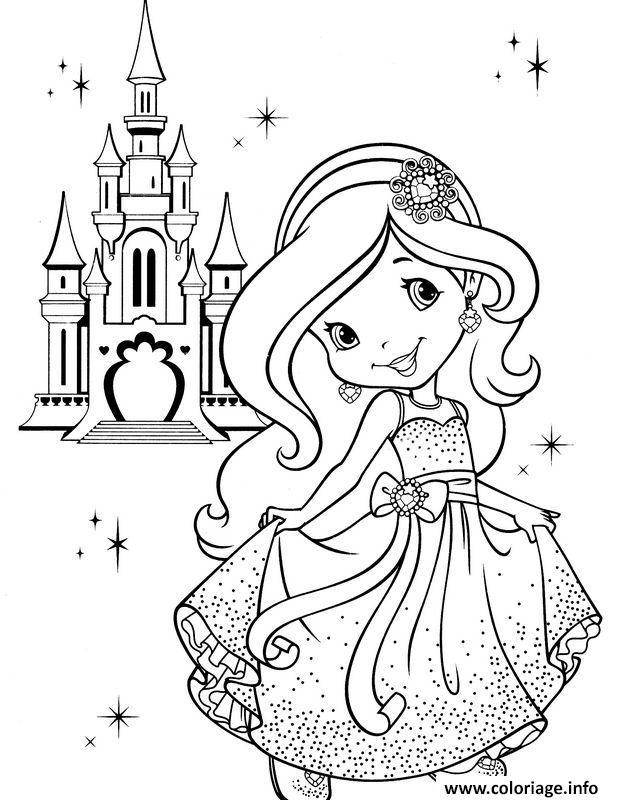 Coloriage Chateau Princesse A Imprimer.Coloriage Princesse Charlotte Devant Son Chateau Jecolorie Com