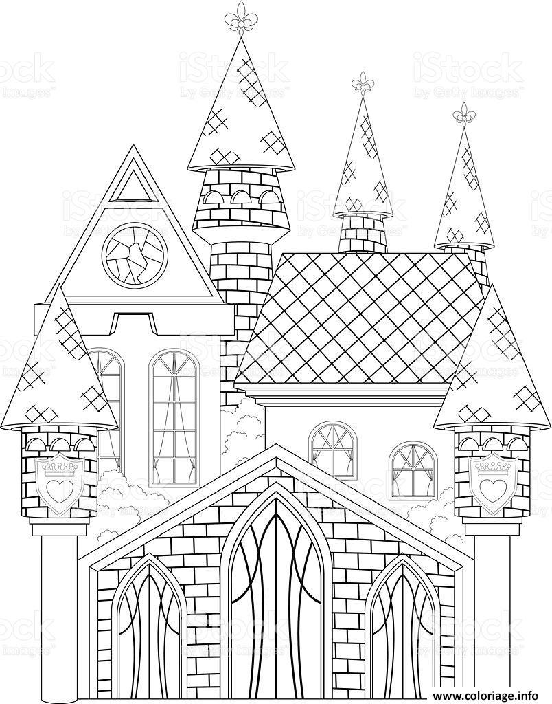 Coloriage Dun Chateau De Princesse.Coloriage Chateau De Princesse Dessin