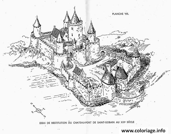 Dessin chateau fort du moyen age de saint gobain au XIIII Siecle Coloriage Gratuit à Imprimer