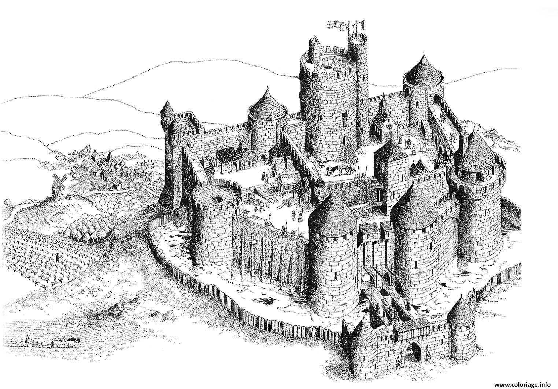 Coloriage Chateau Fort En Ligne.Coloriage Chateau Fort Du Moyen Age Dessin