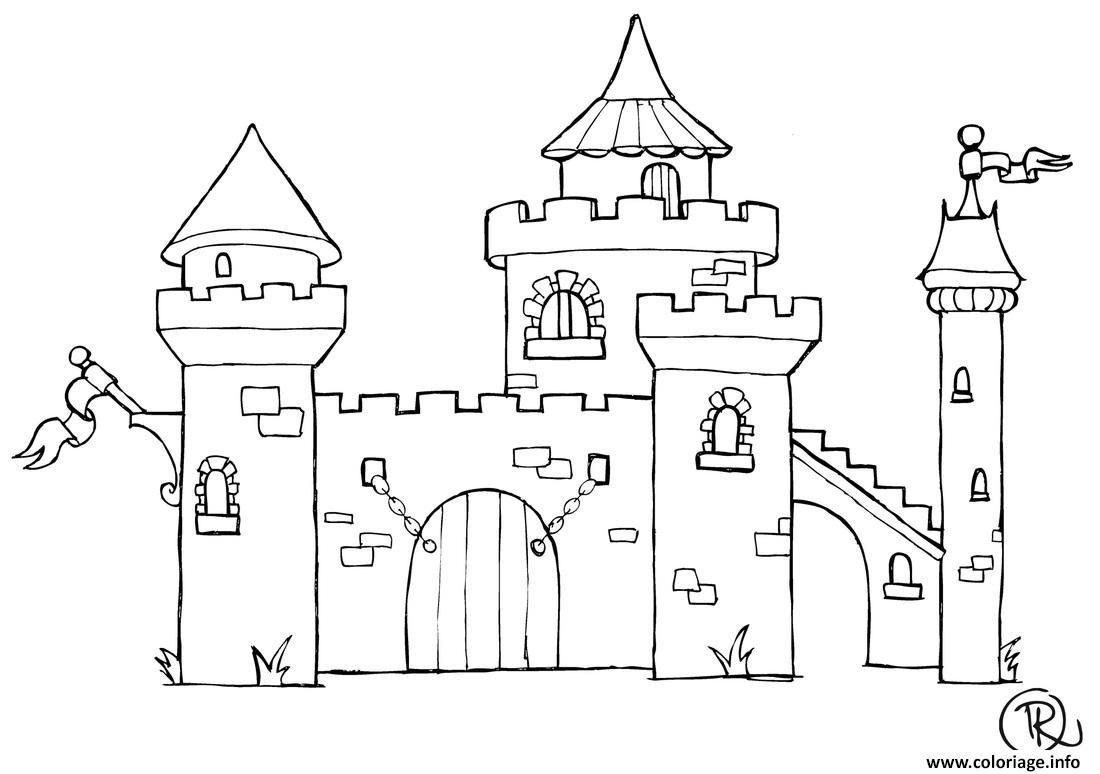 Coloriage De Chateau A Imprimer.Coloriage Chateau Jecolorie Com