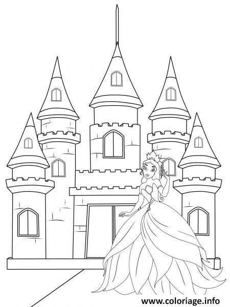 Coloriage barbie devant son chateau dessin - Chateau de barbie ...