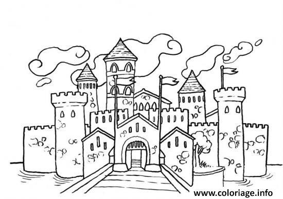 Coloriage Image Chateau.Coloriage Chateau Pres De La Mer Jecolorie Com
