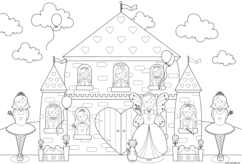 Coloriage Chateau Princesses Toute La Famille De Princesse