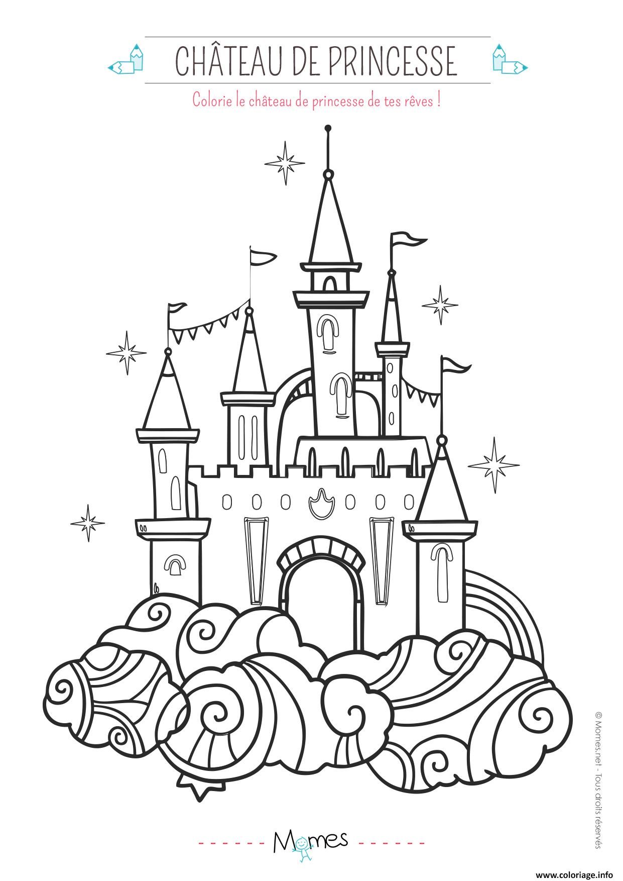 Coloriage le chateau de princesse dessin - Chateau fort facile a dessiner ...