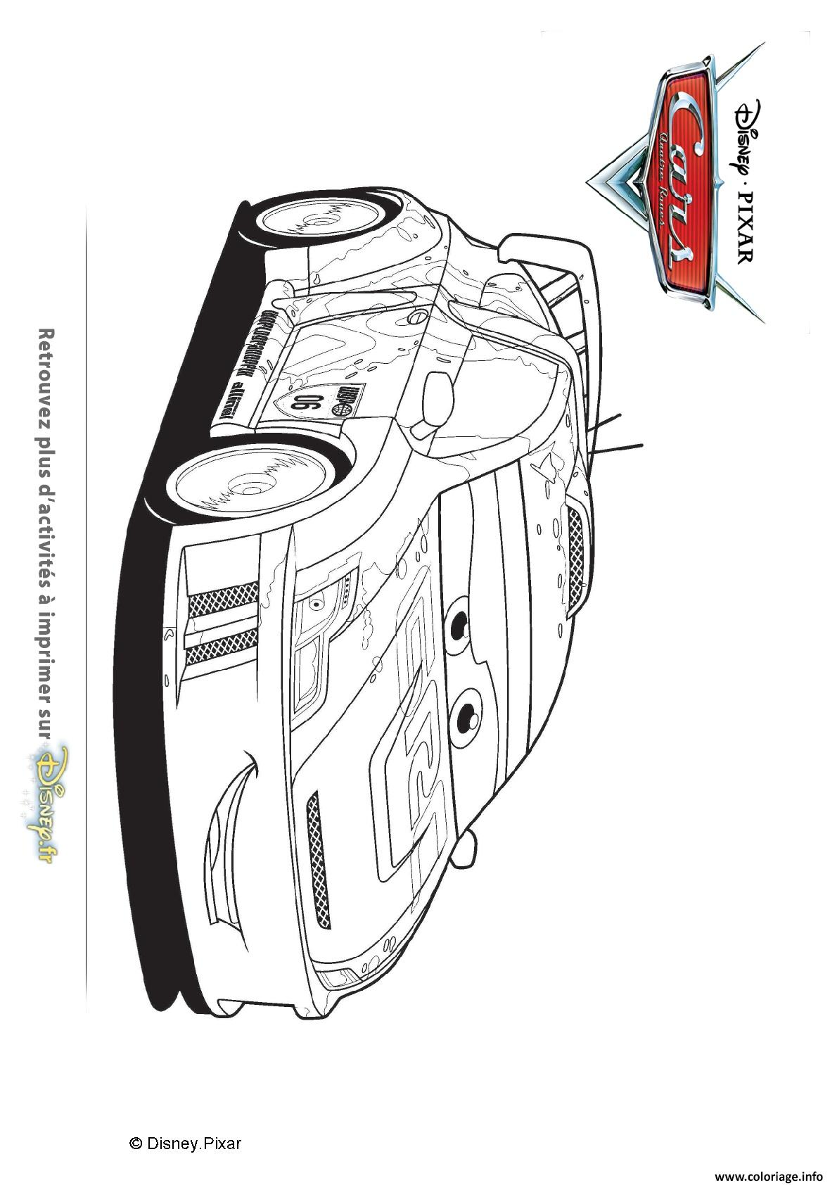 Coloriage Raoul Aroule Plus Grande Voiture De Rallye Au Monde Cars Disney dessin