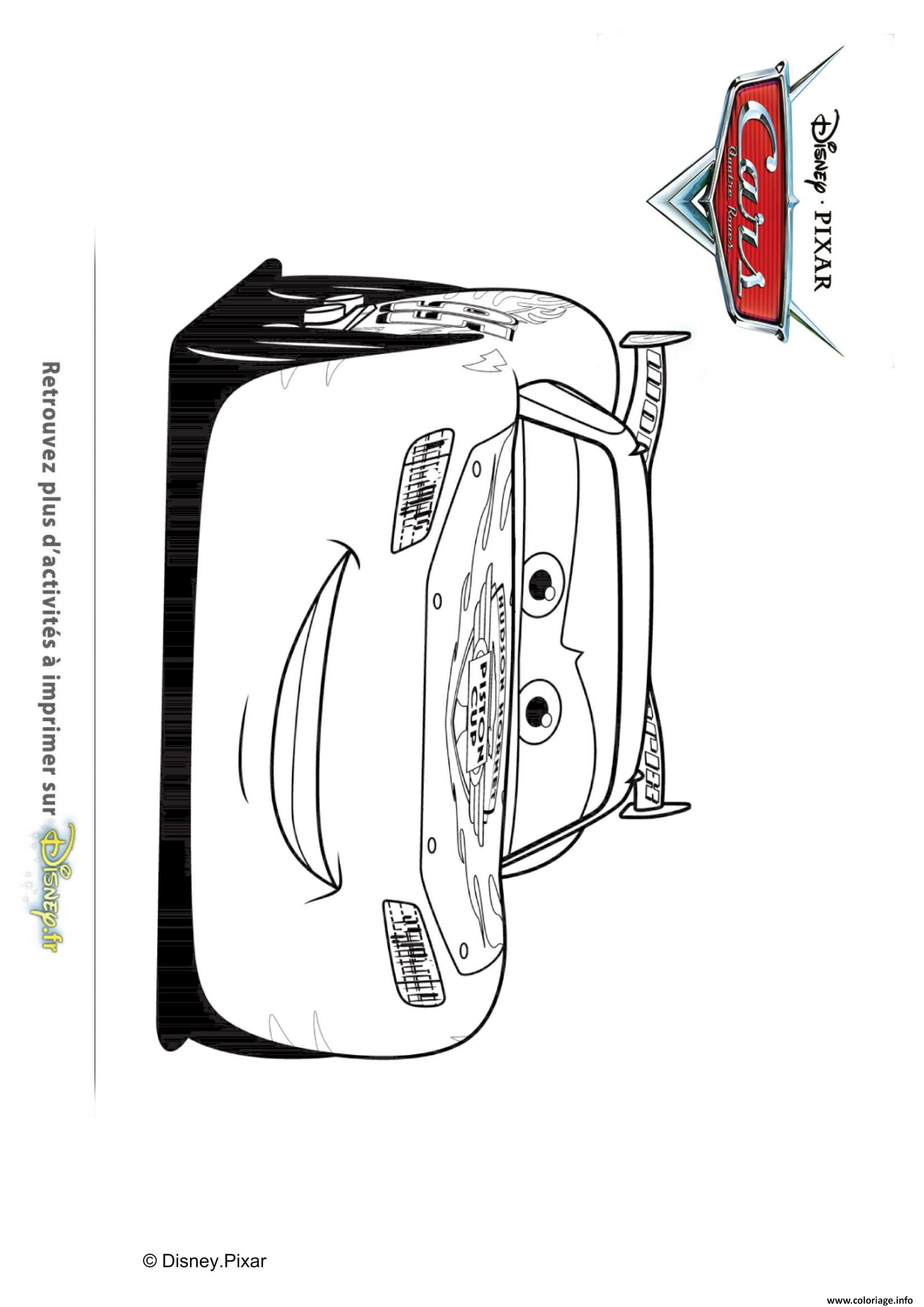 Coloriage Cars Flash McQueen Sur La Route dessin