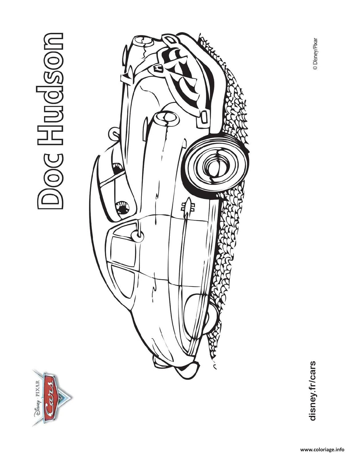 Coloriage Flash Mcqueen Et Doc Hudson.Coloriage Doc Hudson Cars Disney Jecolorie Com