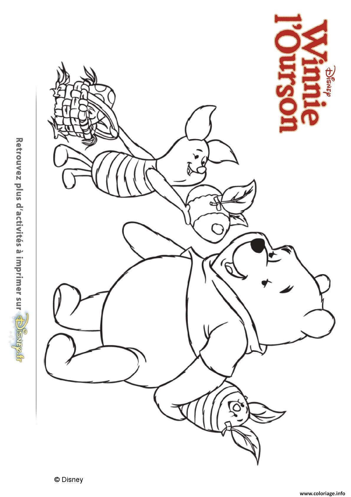 Coloriage winnie ourson et porcinet s offrent des oeufs dessin - Comment dessiner winnie l ourson ...