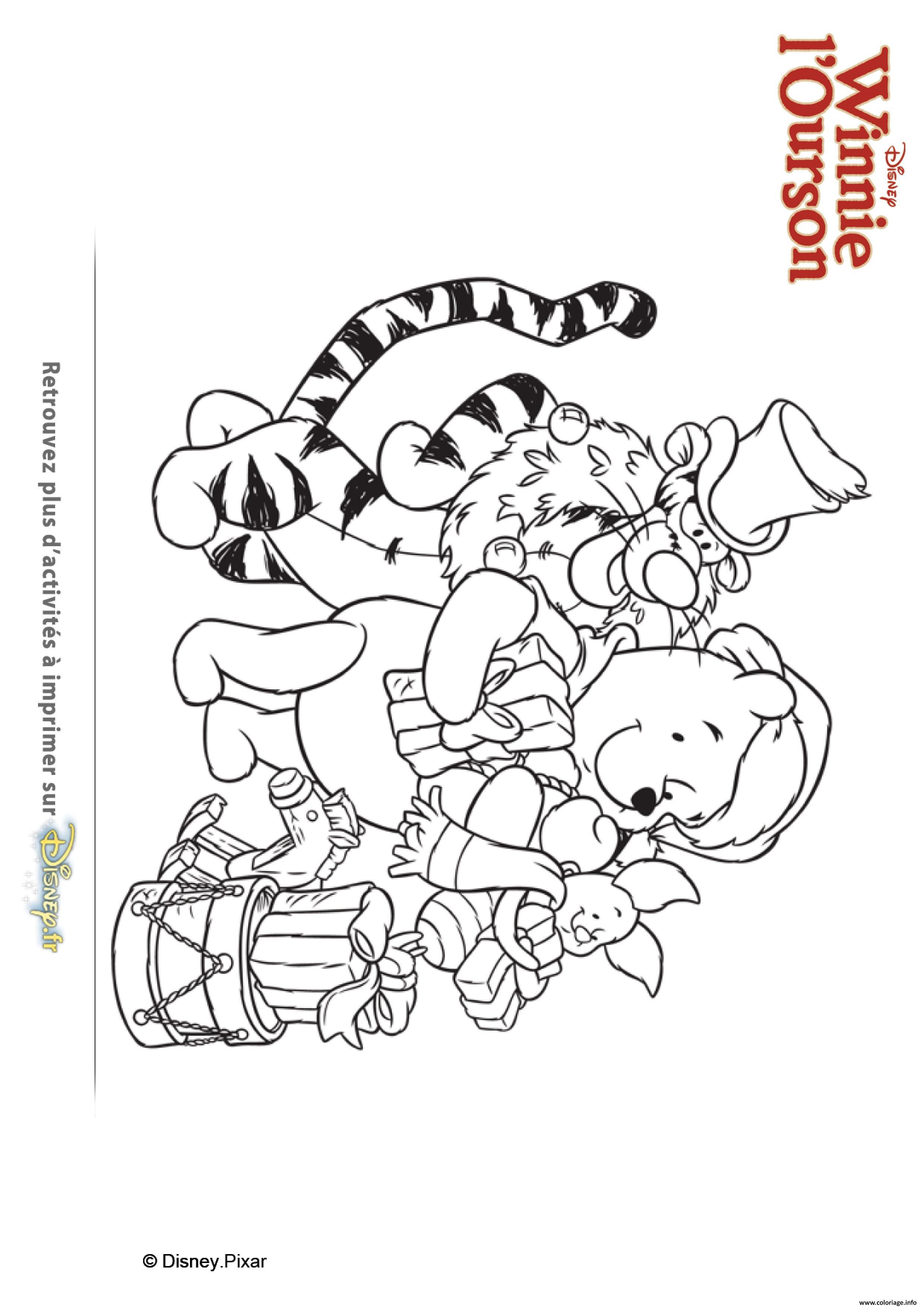 Coloriage En Route Pour Noel Avec Winnie Ourson Et Ses Amis dessin