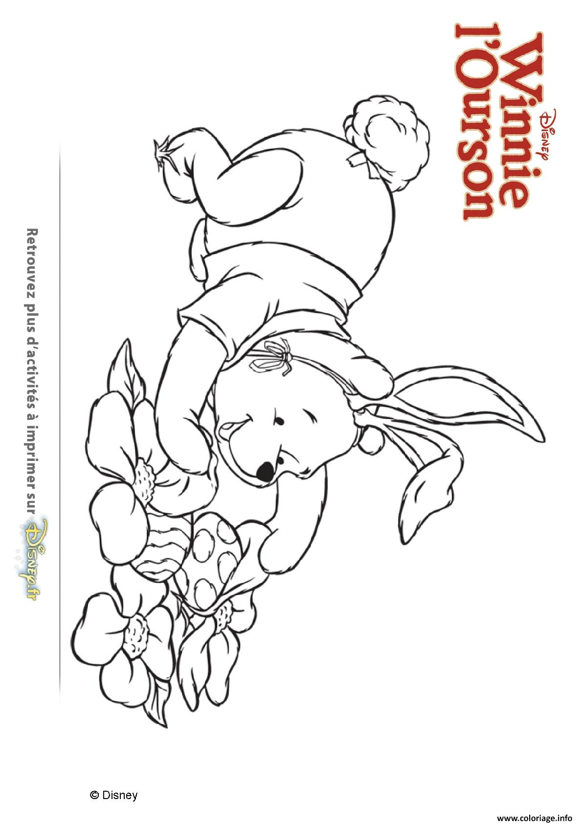 Coloriage Winnie Ourson Chasse Les Oeufs dessin