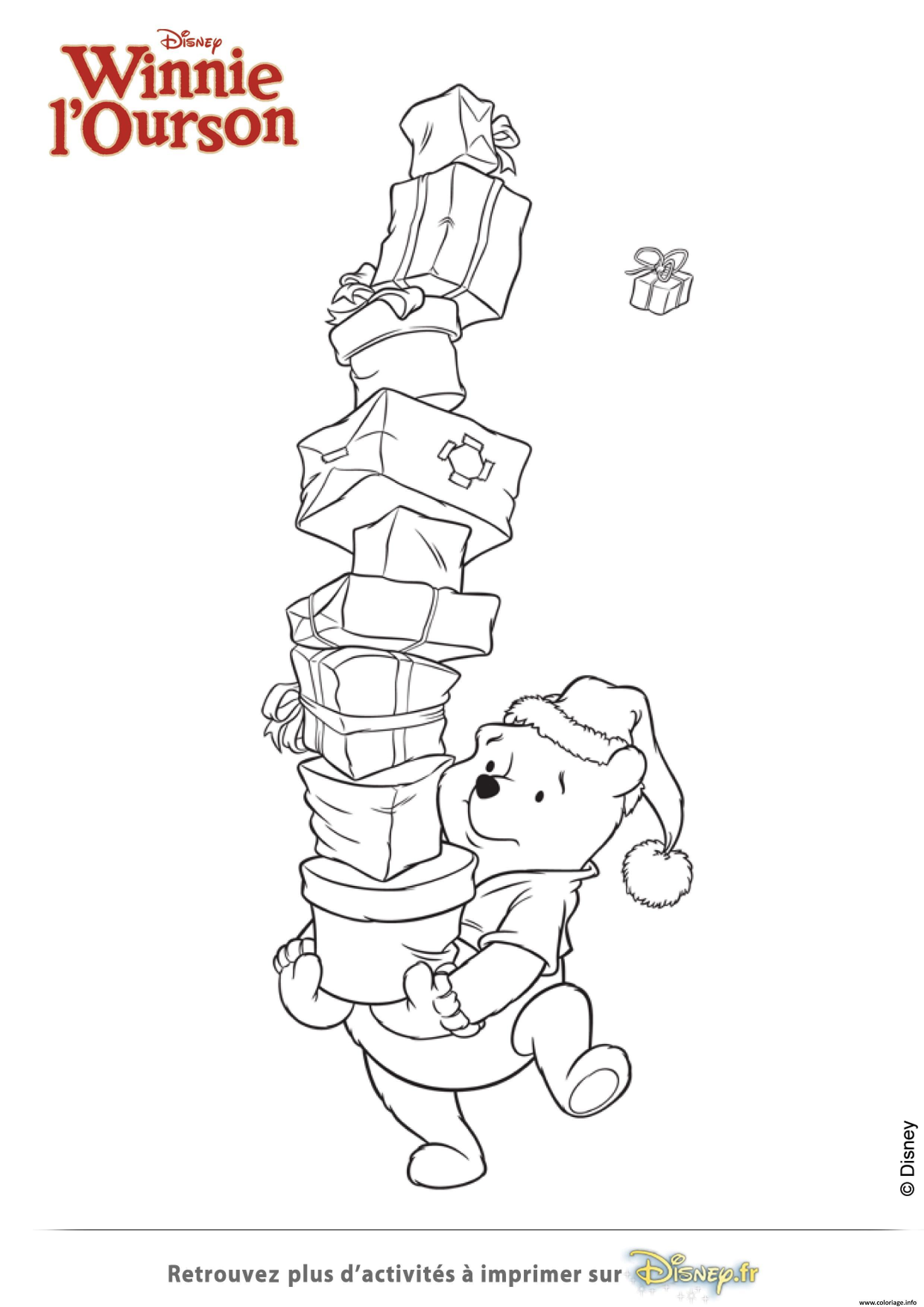 Coloriage Winnie Ourson Et La Pile De Cadeaux dessin