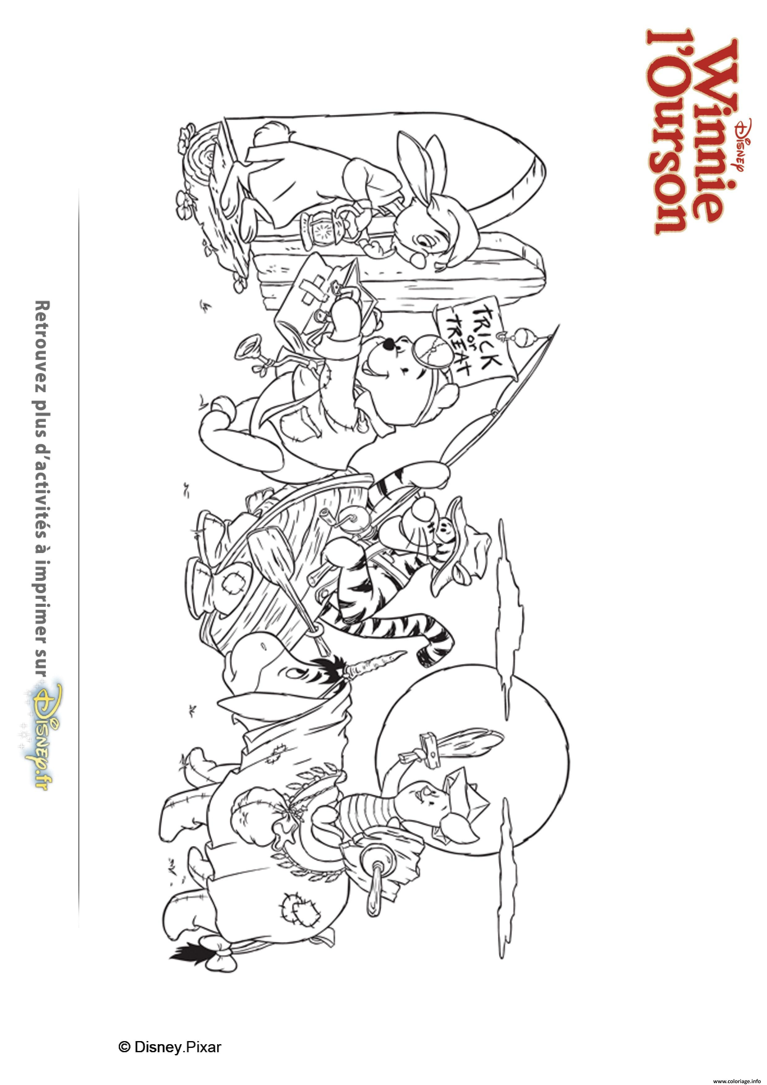 Coloriage winnie ourson et ses amis recoltent des bonbons dessin - Dessin ourson ...