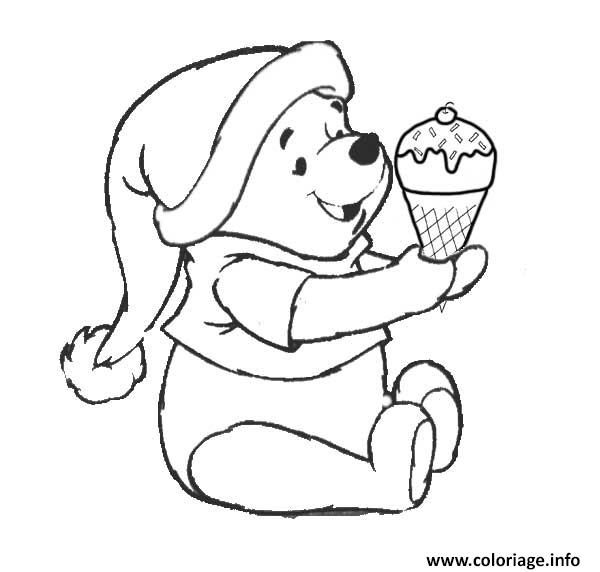 Dessin winnie l ourson mange une creme glacee Coloriage Gratuit à Imprimer