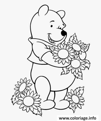 Dessin winnie de pooh aime les fleurs Coloriage Gratuit à Imprimer