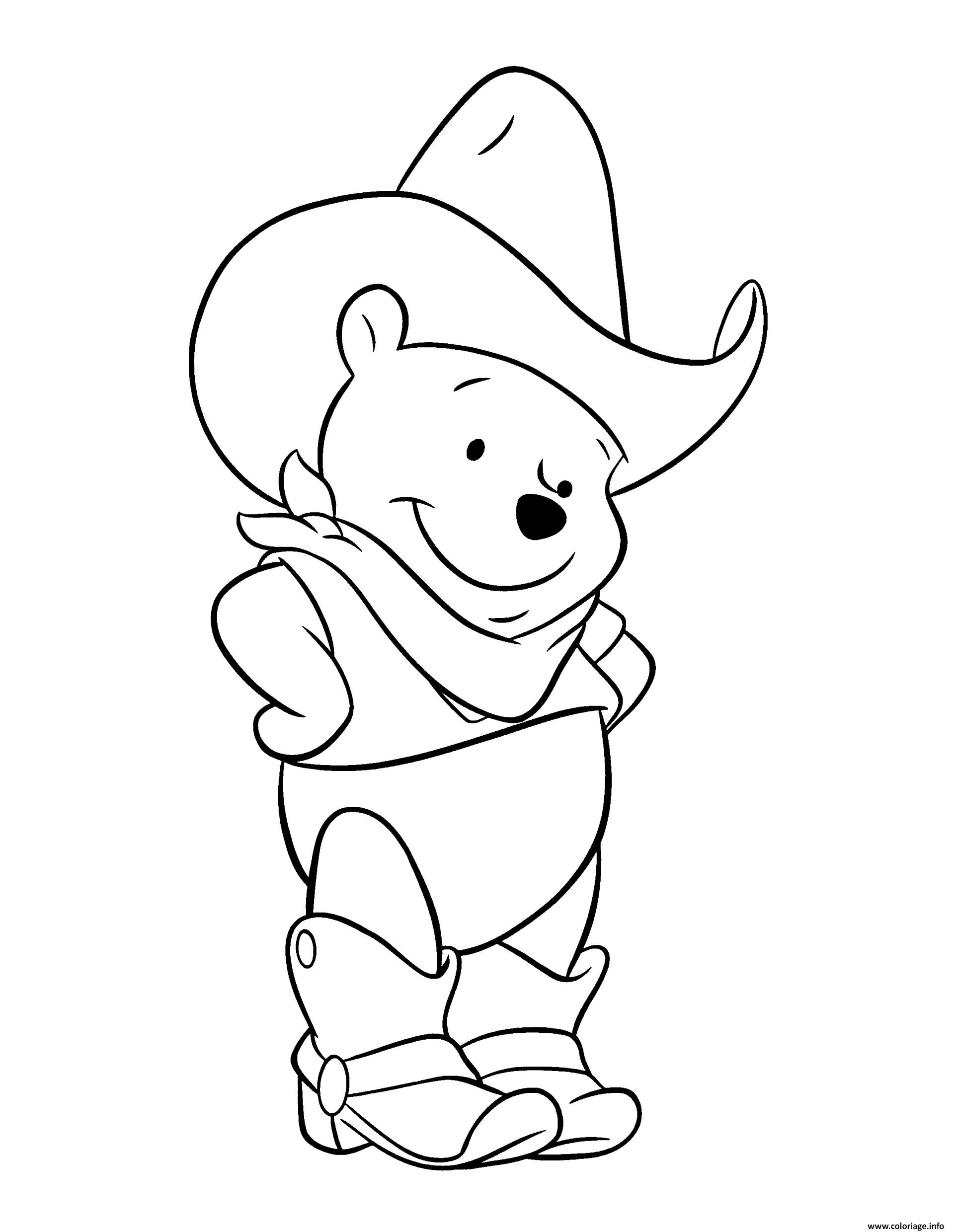 Coloriage winnie de pooh ourson en mode cowboy - Coloriage d ourson a imprimer ...