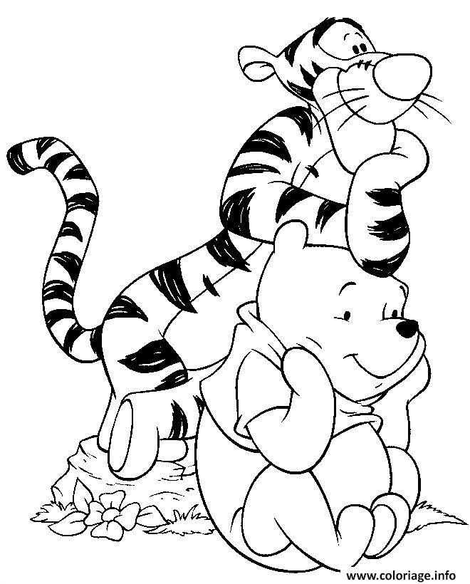 Coloriage tigrou et winnie ourson facile dessin - Dessin ourson a imprimer ...