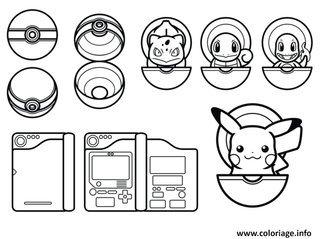 Coloriage Pokemon Pikachu Pokeball Dessin