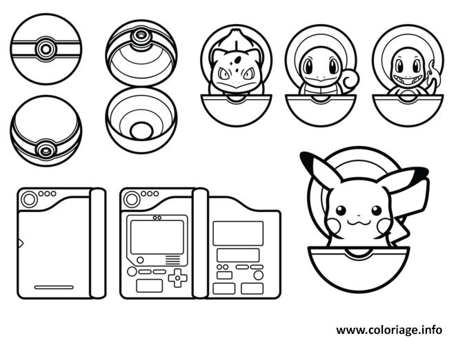 Dessin pokemon pikachu pokeball Coloriage Gratuit à Imprimer