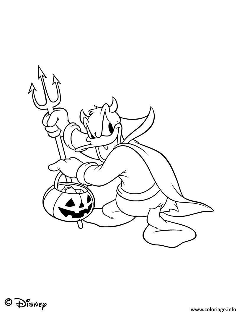 Dessin disney halloween donald avec sa fourche Coloriage Gratuit à Imprimer