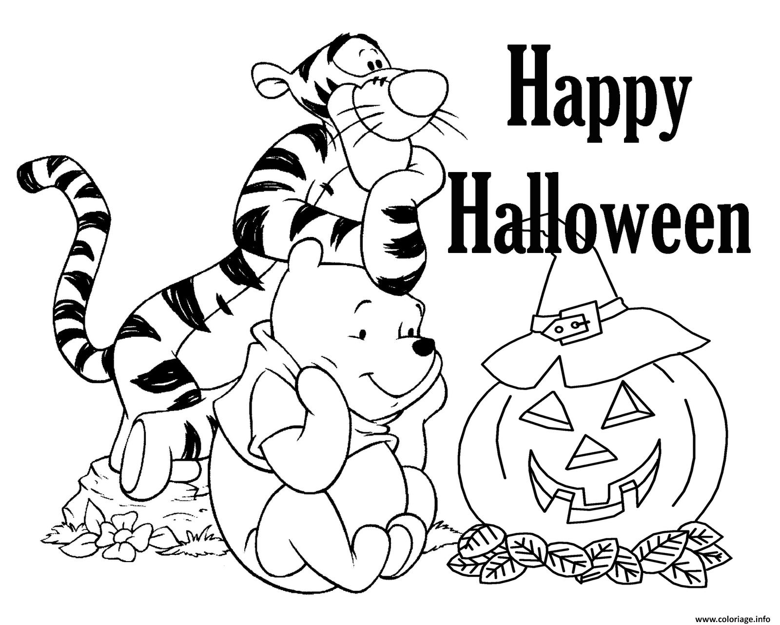 Coloriage Tigrou Winnie Halloween Disney Jecolorie Com