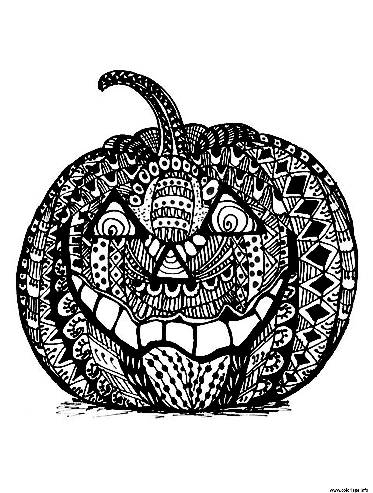 Coloriage mechante citrouille halloween zentangle adulte - Dessin halloween a imprimer ...