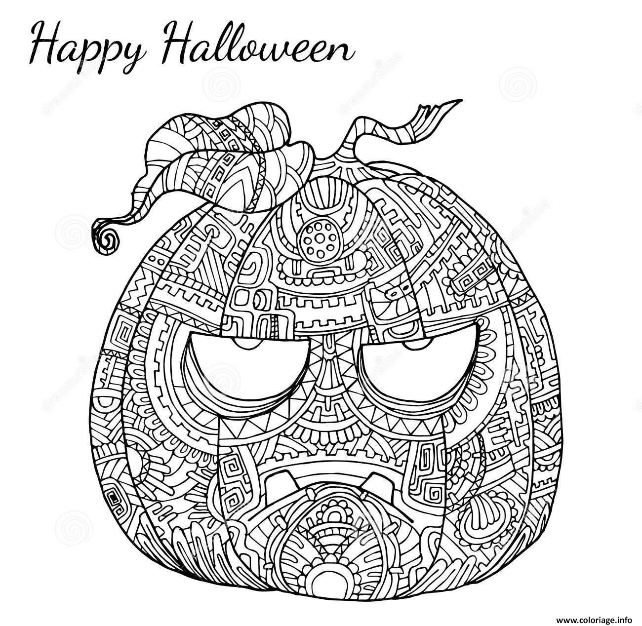 Coloriage halloween adulte zen citrouille dessin - Halloween adulte ...