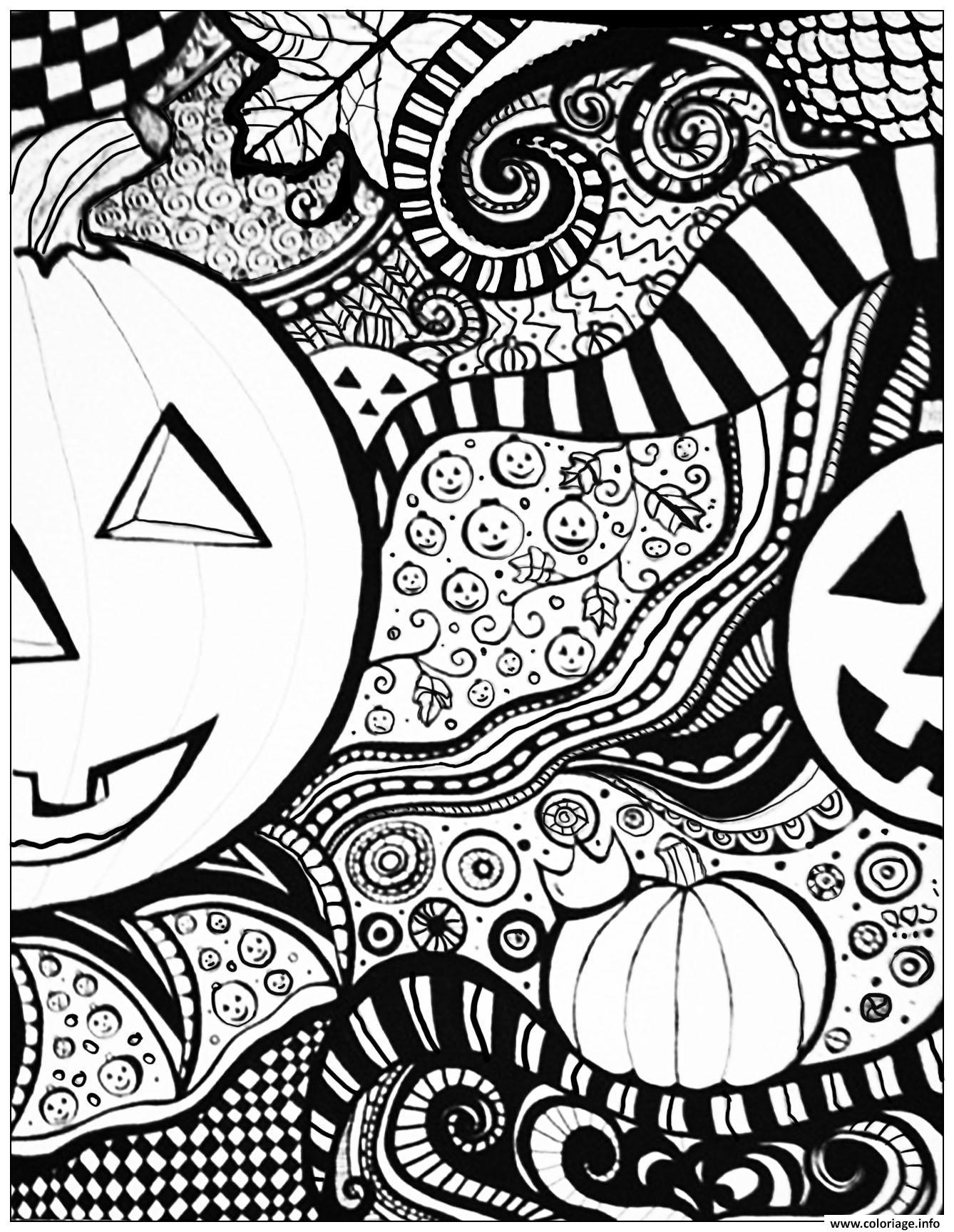 Coloriage Emoji Difficile.Coloriage Adulte Halloween Pattern Difficile Dessin