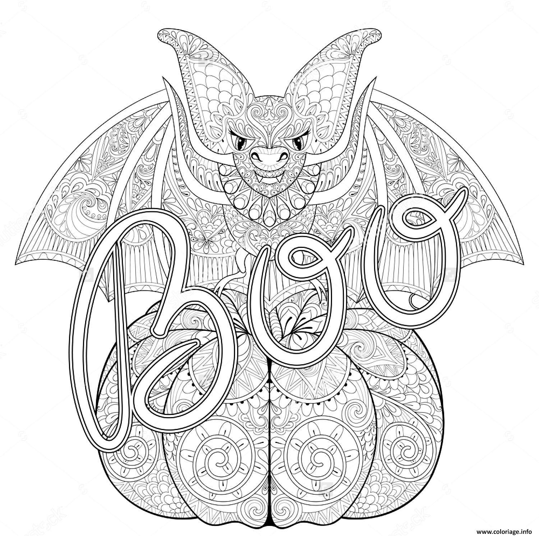 Coloriage halloween zentangle chauve souris - Dessin halloween chauve souris ...