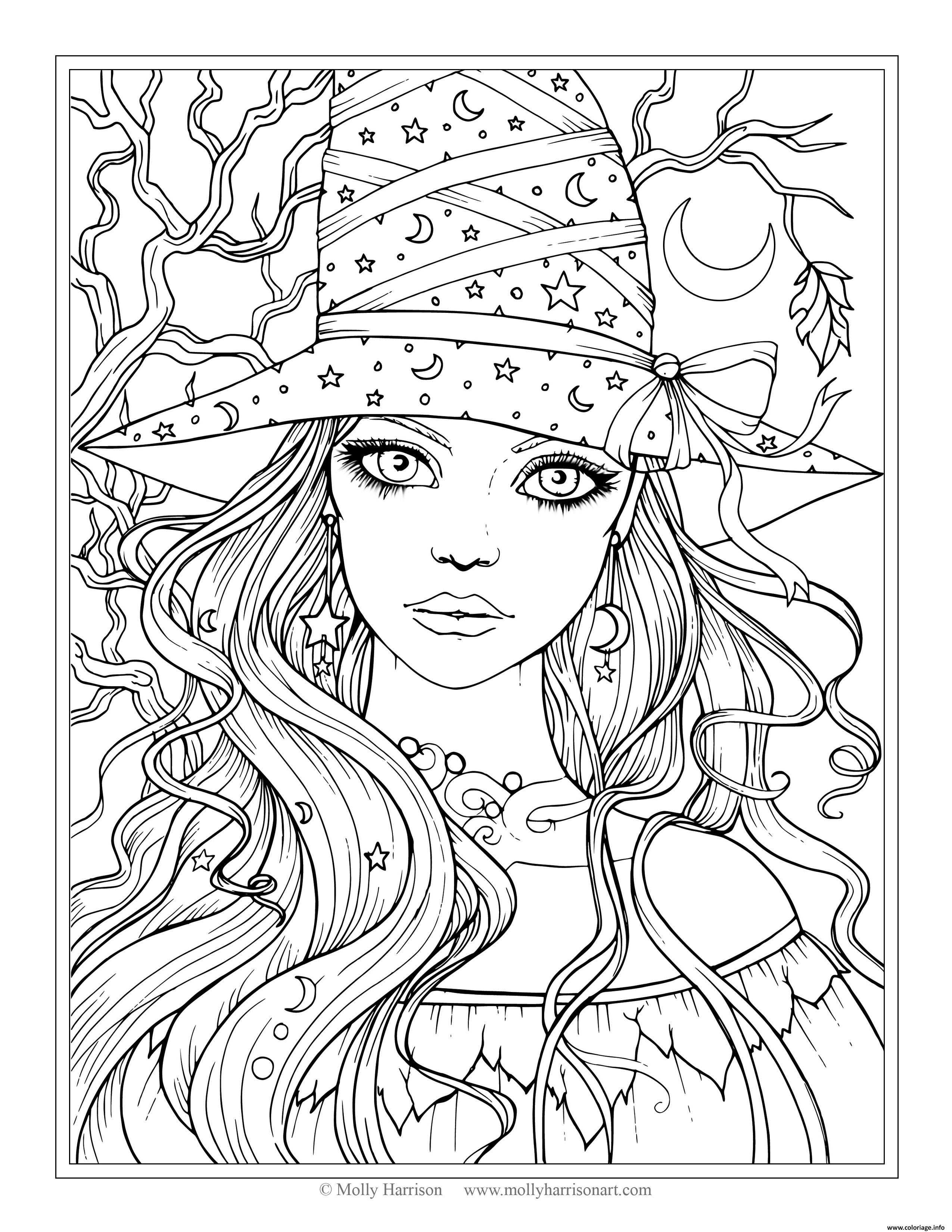 coloriage halloween adulte sorciere dessin imprimer - Coloriage Imprimer Adulte