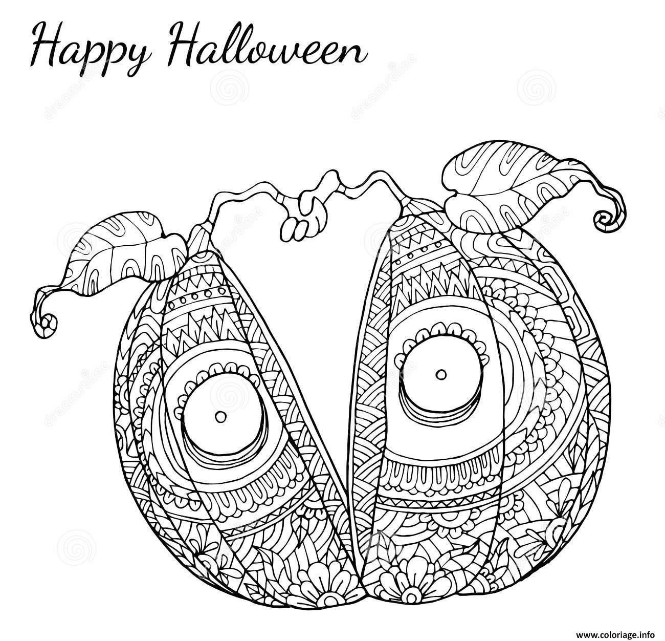 Coloriage halloween adulte citrouille coupe en deux - Dessin citrouille d halloween ...