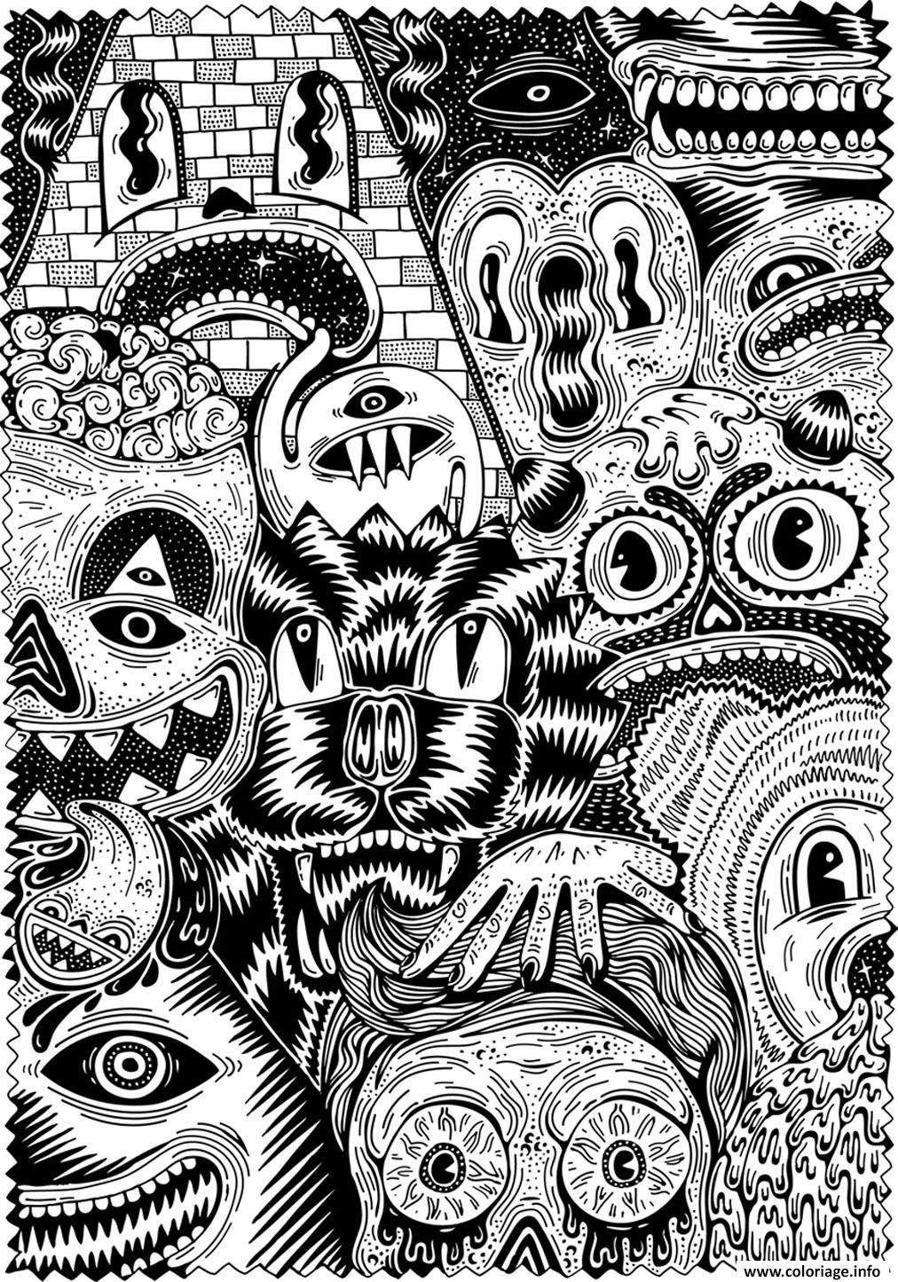 Coloriage Halloween Adulte Effrayant Complexe Dessin